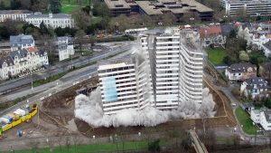 Drohnenfilm Bonn Bundeskanlzerplatz Sprengung Hochhaus Art-Invest