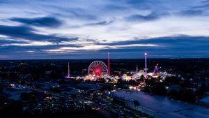 Nachtaufnahme Stadt Bonn Jahrmarkt
